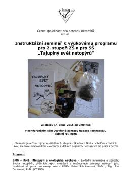 pozvánka Brno - Česká společnost pro ochranu netopýrů