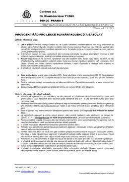 provozní řád kurzů plavání kojenců a batolat 1.3.2015