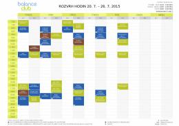 ROZVRH HODIN 20. 7. – 26. 7. 2015