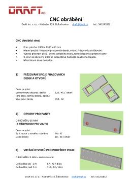 CNC obrábění - Draft Inc. sro