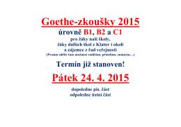 Goethe-zkoušky 2015 úrovně B1, B2 a C1
