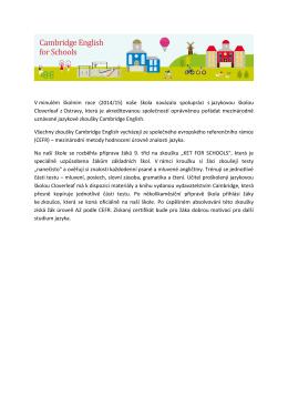 V minulém školním roce (2014/15) naše škola navázala spolupráci s
