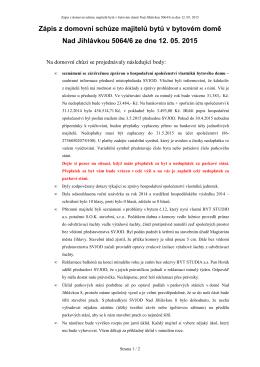Zápis z domovní schůze - Společenství vlastníků jednotek obytného