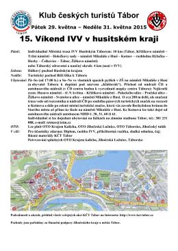 Klub českých turistů Tábor 15. Víkend IVV v husitském