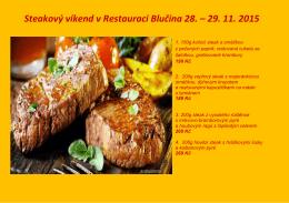 Steakový víkend v Restauraci Blučina 28. – 29. 11. 2015