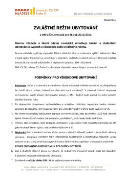 ZVLÁŠTNÍ REŽIM UBYTOVÁNÍ - Domov Mládeže Lovosická