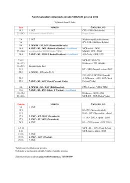 Návrh kalendáře oblastních závodů MSKSOS pro rok 2016