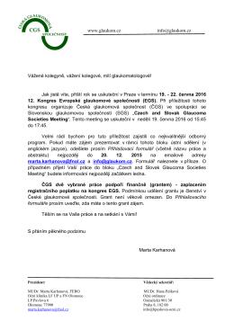 Prezident ČGS: - Česká glaukomová společnost