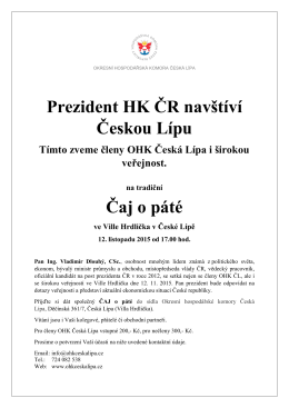 Prezident HK ČR navštíví Českou Lípu Čaj o páté
