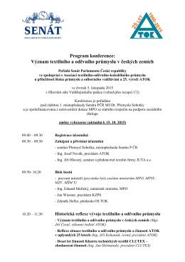 Program konference: Význam textilního a oděvního průmyslu v