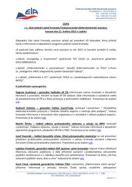 Zápis z valné hromady - Českomoravská elektrotechnická asociace
