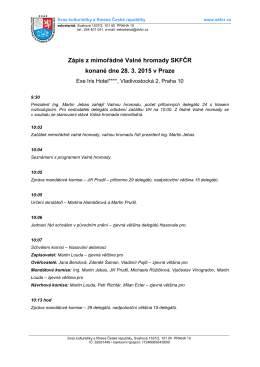 Zápis z mimořádné Valné hromady SKFČR konané dne 28. 3. 2015