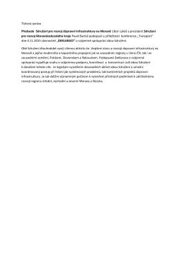 Tisková zpráva Předseda Sdružení pro rozvoj dopravní infrastruktury