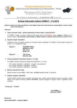 Zápis ze schůze VV ČABR-P 17.9.2015