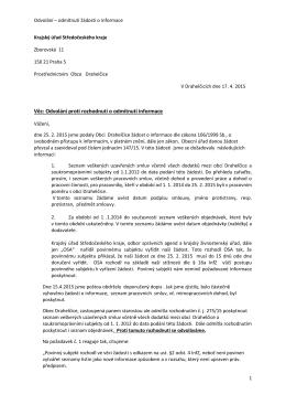 Věc: Odvolání proti rozhodnutí o odmítnutí informace