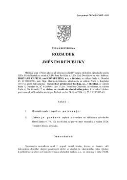 Rozsudek MS v Praze potvrzující zamítnutí zdržení se
