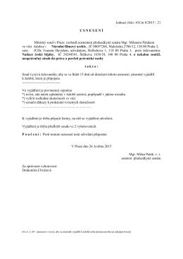 Usnesení zaslané NČB soudem 26.5.15