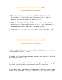 Pokyny ke státním závěrečným zkouškám (SZZK)
