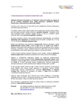 TISKOVÁ ZPRÁVA Ústí nad Labem 1. 10. 2015 TÝDEN KNIHOVEN