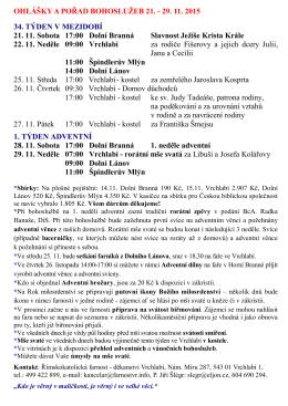 OHLÁŠKY A POŘAD BOHOSLUŽEB 21.