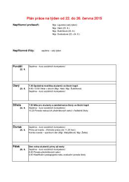 Plán práce na týden od 22. do 26. června 2015
