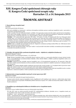 sborník abstrakt - Ústav chirurgie ruky a plastické chirurgie Vysoké