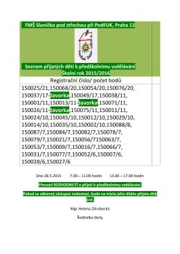 Seznam přijatých dětí pro šk.rok 2015/2016