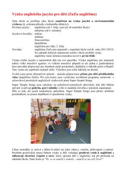 Výuka anglického jazyka pro děti (ZuZu angličtina)