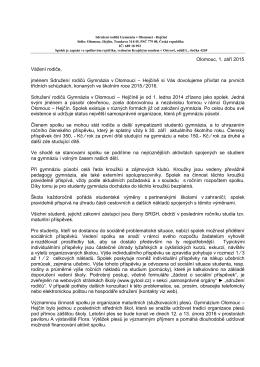Dopis SRGH pro rodiče studentů I. ročníků