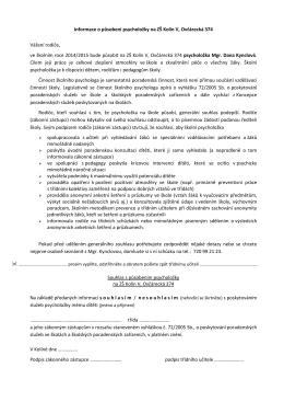 Informace o působení psycholožky na ZŠ Kolín V, Ovčárecká 374