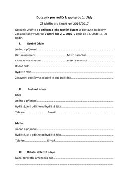Dotazník pro rodiče k zápisu do 1. třídy ZŠ Měřín pro školní rok 2016
