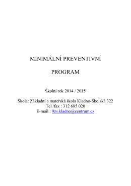 minimální preventivní program školní rok 2014/2015