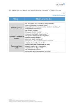 MS Excel VBA - hotová efektivní řešení