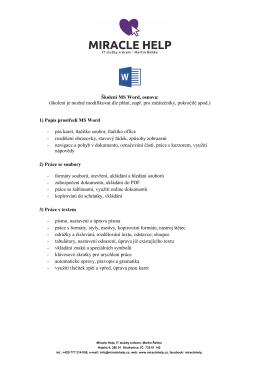Školení MS Word, osnova: (školení je možné modifikovat dle přání