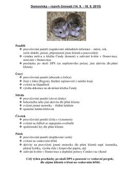Domovinka – rozvrh činností (14. 9.