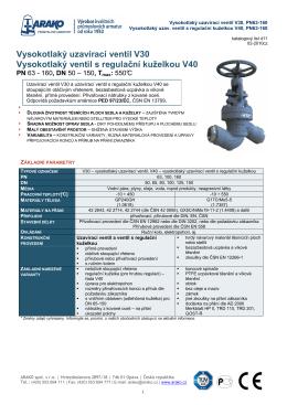 Vysokotlaký uzavírací ventil V30 Vysokotlaký