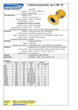 Katalogový list – turbínové plynoměry – vysokotlaké