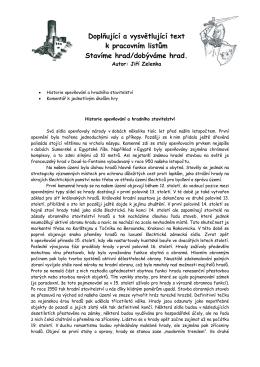 Doplňující a vysvětlující text k pracovním listům Stavíme hrad