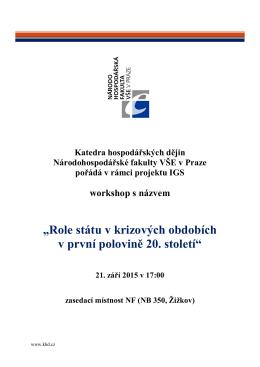 """""""Role státu v krizových obdobích v první polovině 20. století"""""""