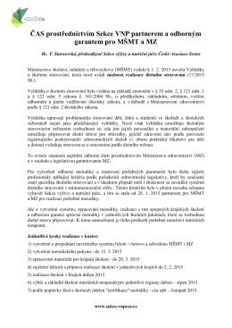 informace České asociace sester (ČAS)