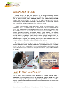 Junior Lean In Club Lean In Club je určen pro