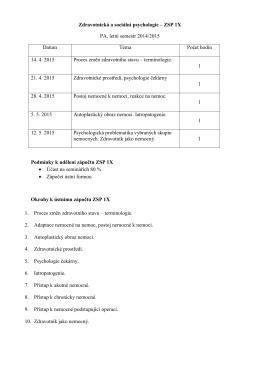 Zdravotnická a sociální psychologie – ZSP 1X PA, letní semestr