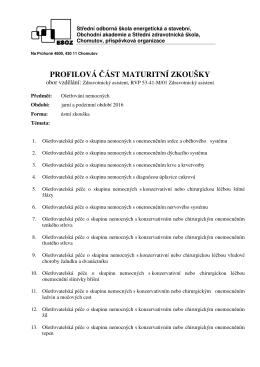 Ošetřování nemocných - Střední zdravotnická škola, ESOZ Chomutov