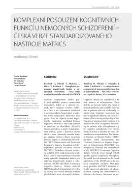 Komplexní posouzení Kognitivních funKcí u nemocných schizofrenií