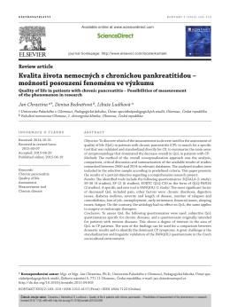 Kvalita života nemocných s chronickou pankreatitidou
