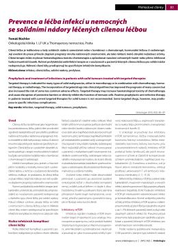 Prevence a léčba infekcí u nemocných se solidními