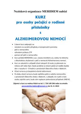 KURZ pro osoby pečující o rodinné příslušníky s ALZHEIMEROVOU