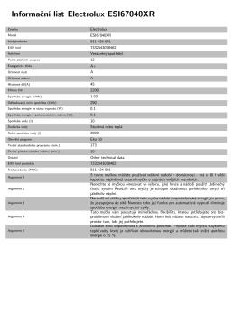 Informační list Electrolux ESI67040XR