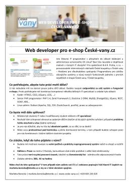 Web developer pro e-shop České