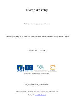 Evropské řeky - Dětský diagnostický ústav a SVP Liberec